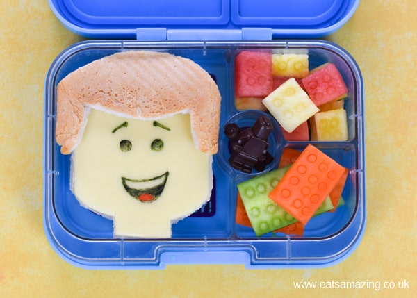 Fun Lego themed lunch for kids to celebrate the release of the Lego Movie 2 with Emmet sandwich and fruit and vegetable blocks