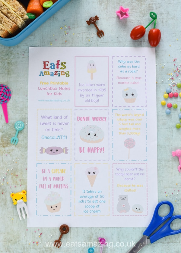 Fun Sweet Treat lunchbox notes for kids - free printable lunch notes to download for a fun lunch time surprise