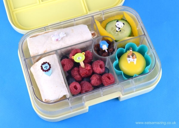 Fun and easy zoo themed packed lunches for kids - lunch five yumbox wraps and berries