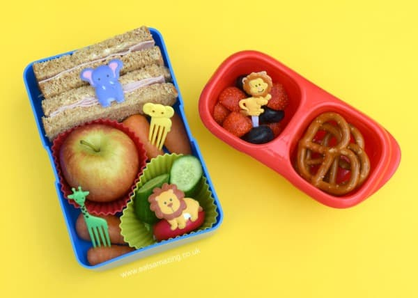 Fun and easy zoo themed packed lunches for kids - lunch four sandwiches with fruit and crunchy veg