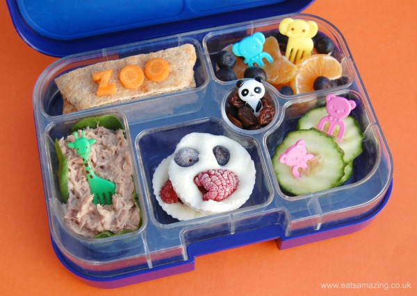 Fun and easy zoo themed packed lunches for kids - lunch one pitta breads with tuna