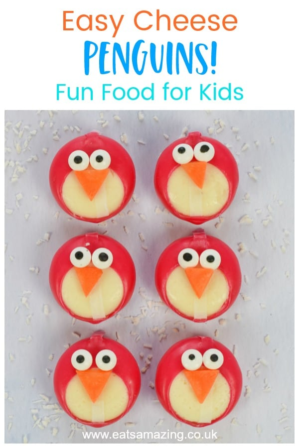 Fun penguin themed party food idea - how to make easy Babybel cheese penguins - fun food tutorial for kids with video and full printable instructions #EatsAmazing #partyfood #kidsfood #foodart #funfood #penguins #babybel #kidsparty #winter #edibleart #foodcraft