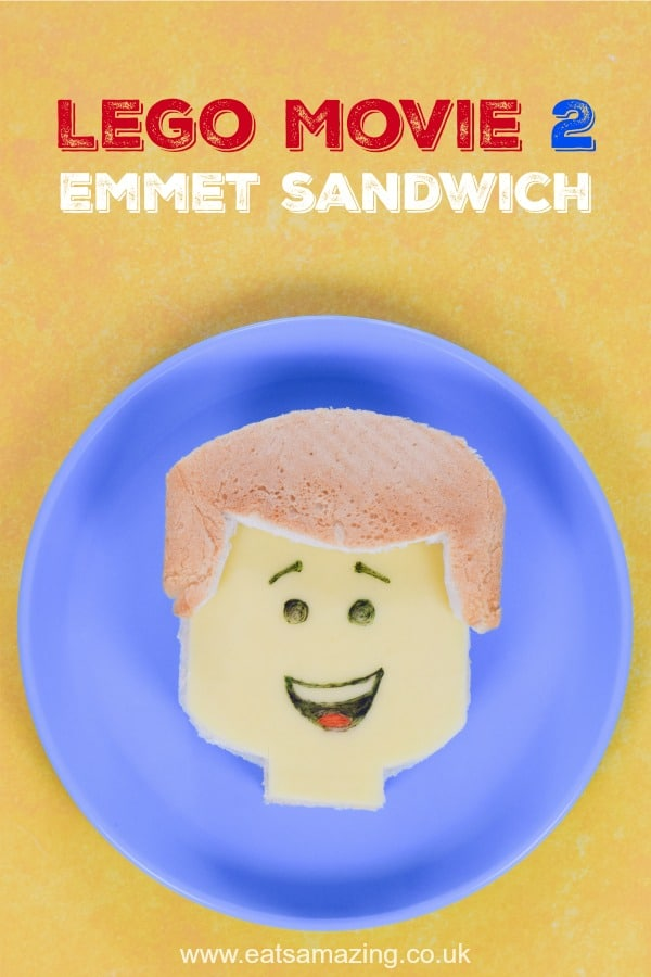 How to make a fun Emmet Sandwich from The Lego Movie 2 - fun Lego themed food tutorial including step by step photos