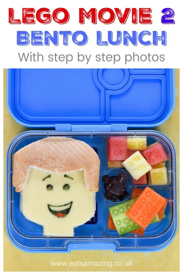 How to make a fun Lego Themed Bento Lunch for Kids - full tutorial with step by step photos including fruit and veg lego blocks and Emmet sandwich #EatsAmazing #bentobox #kidsbento #yumbox #Lego #TheLEGOMovie2 #funfood #foodart #kidsfood