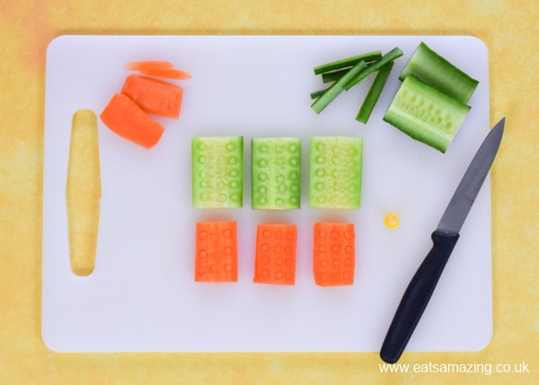 How to make fun vegetable blocks inspired by Lego Movie 2 with carrot and cucumber