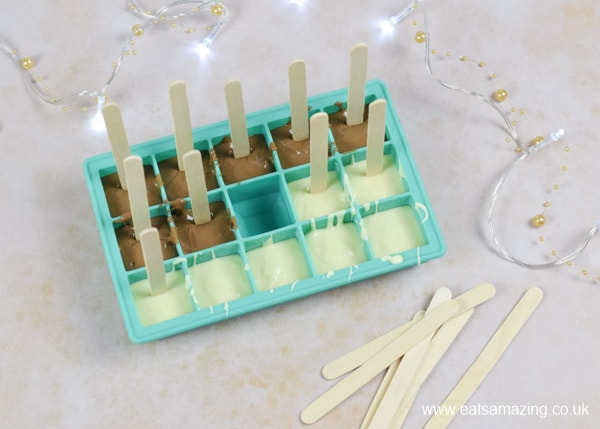 How to make hot chocolate stirrers - step 2 add lolly sticks