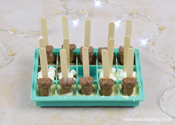 How to make hot chocolate stirrers - step 4 chill until completely set