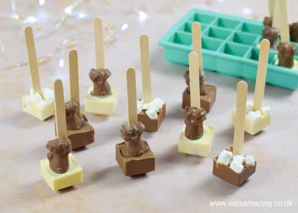 How to make hot chocolate stirrers - step 5 carefully remove from the ice cube tray