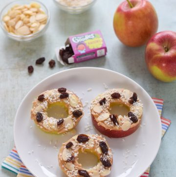 How to make peanut butter apple donuts -easy fun and healthy snack for kids with step by step photos