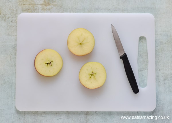 How to make raw apple donuts - fun snack for kids - step 1 slice the apple into rounds
