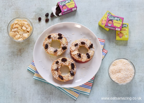 How to make raw apple donuts - fun snack for kids - step 4 sprinkle with healthy toppings of your choice