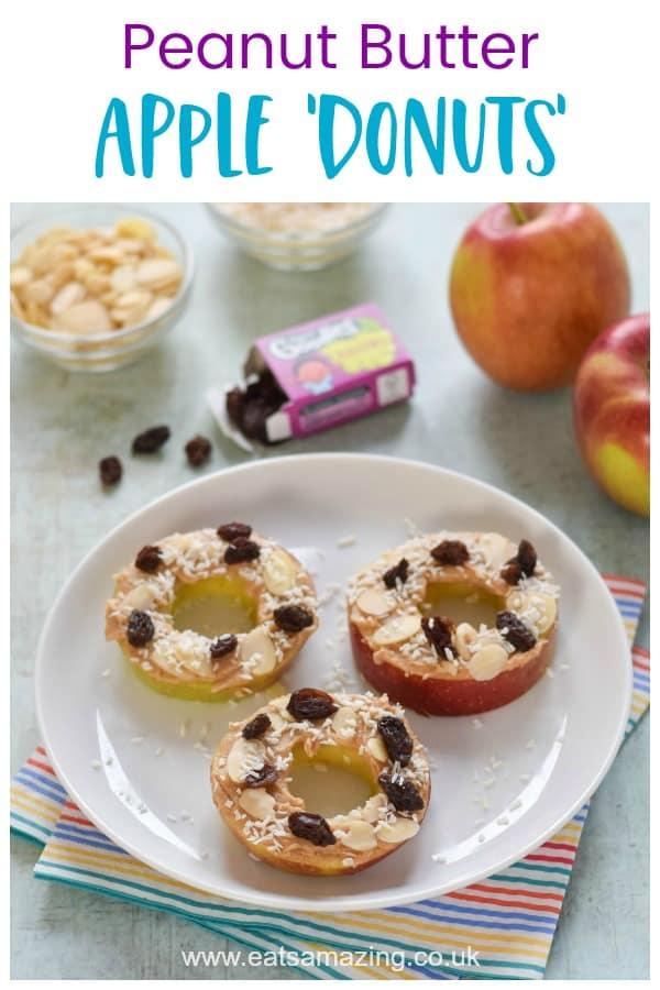 Raw Peanut Butter Apple Donuts Recipe - fun and healthy snack for kids  #EatsAmazing #snacks #healthysnacks #healthysnacksforkids #easyrecipe #kidsfood #vegan #glutenfree #dairyfree #healthykids