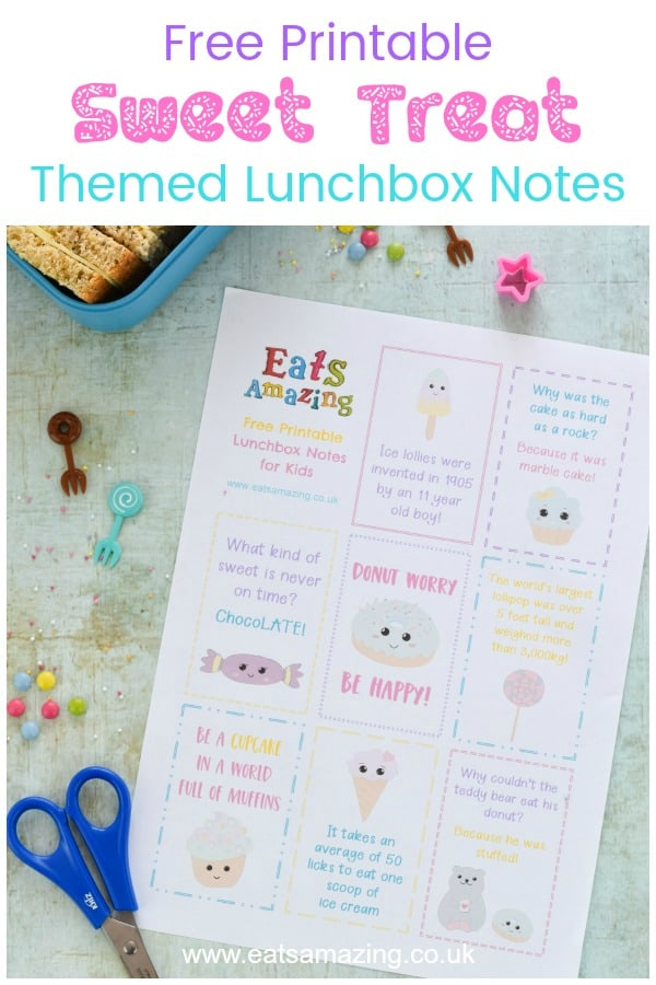 Super cute FREE printable Sweet Treat themed lunchbox notes for kids - a fun lunchbox surprise for back to school with jokes and fun facts #EatsAmazing #lunchbox #lunchboxnotes #schoollunch #lunchnotes #kidsfood #funfood #bento #packedlunch #printable #freeprintable #jokes #funfacts #facts #kawaii