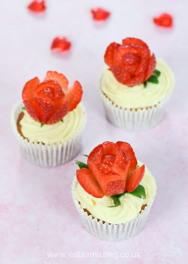 Beautiful strawberries and cream cupcakes with strawberry rose toppers - cute dessert recipe for Valentines or Mothers Day