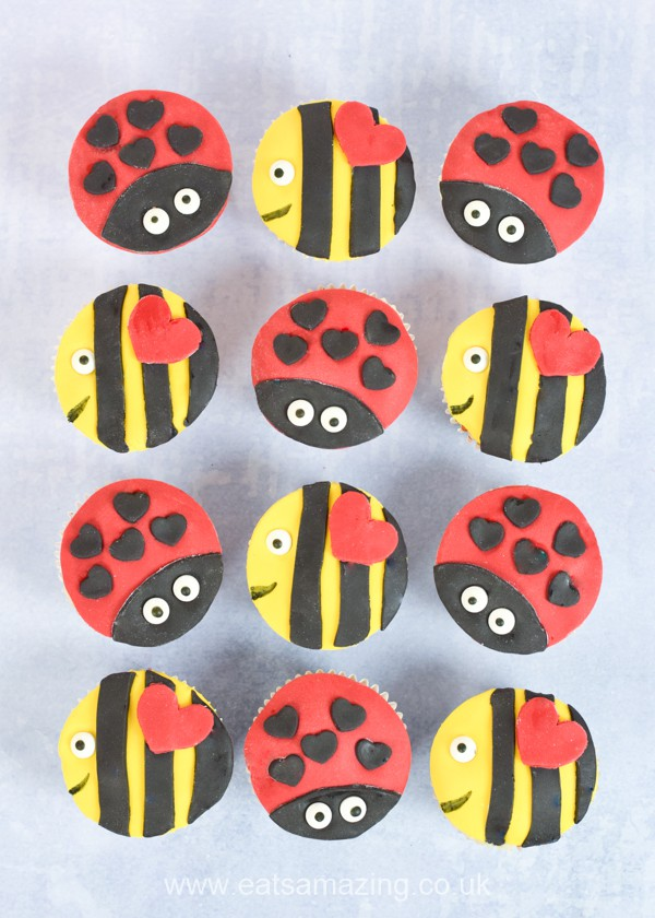 Cute Love Bug and Bee Mine Valentines Cupcakes recipes - these fun ladybug and bee cupcakes are perfect for kids party food