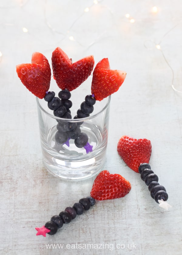 Cute and easy Valentines fruit wands for kids - fun heart themed snack for Valentines Day