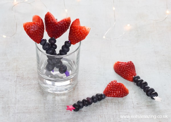 Cute and easy Valentines fruit wands recipe - healthy Valentines food for kids