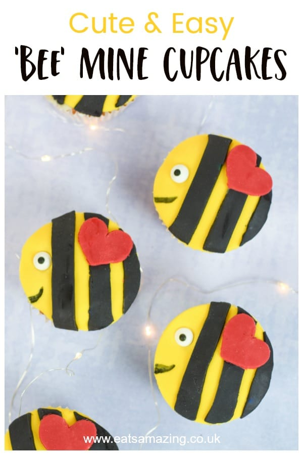 Cute and easy bee cupcakes recipe - a fun project to bake with kids this Valentines Day #EatsAmazing #cupcakes #bees #valentinesday #valentinesforkids #kidsfood #partyfood #cakedecorating #fondantcake #cupcakerecipes
