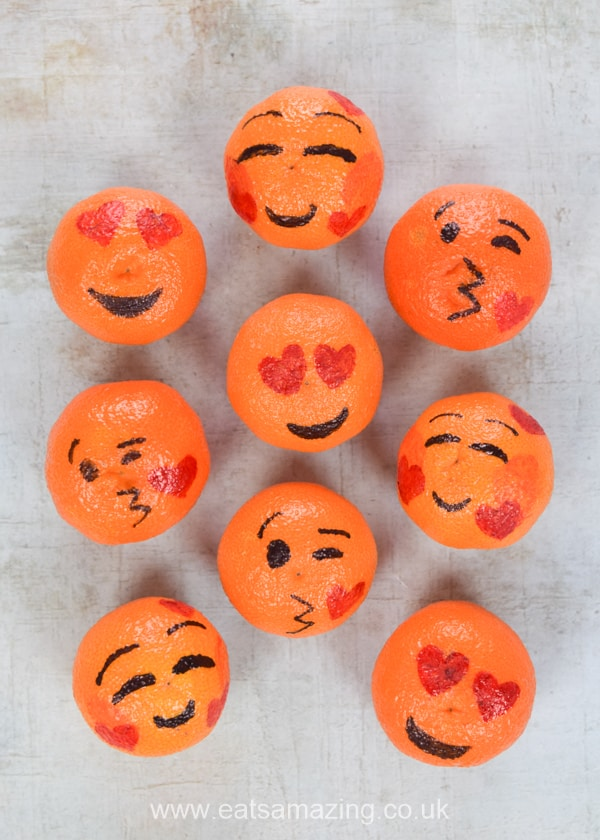 Cute and easy healthy Valentines Day food idea for kids - fun emoji oranges tutorial