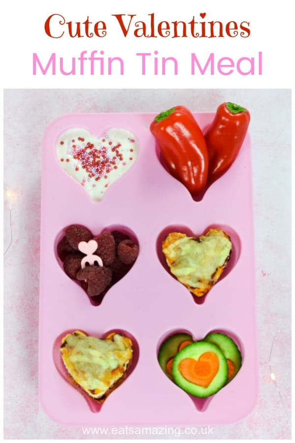 Cute and easy heart themed muffin tin meal tutorial - fun and healthy Valentines food idea for kids #EatsAmazing #valentinesday #valentinesfood #kidsfood #healthykids #funfood #cutefood #hearts #lovefood #muffintin #toddlerfood #babyledweaning