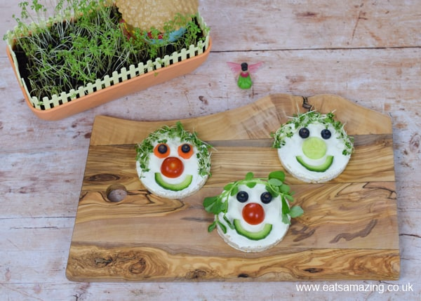 Cute and easy rice cake fairy faces recipe - fun healthy snack or party food idea for kids