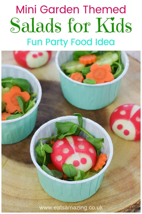 Cute garden themed mini side salads for kids - these fun little salads with cheese ladybugs are perfect for fairy or garden themed party food for kids  #EatsAmazing #kidsfood #funfood #partyfood #foodart #ladybug #saladrecipes #cutefood #edibleart #fairyparty #fairygarden #babybel #healthykids