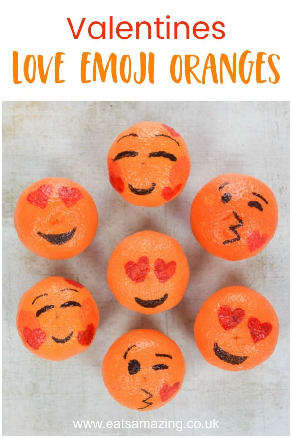 Cute love emoji oranges for Valentines Day - this fun Valentines snack for kids is perfect for lunch boxes and party food #EatsAmazing #ValentinesDay #ValentinesFood #FoodArt #FunFood #KidsFood #PartyFood #emoji #healthykids #ediblecraft #wedding