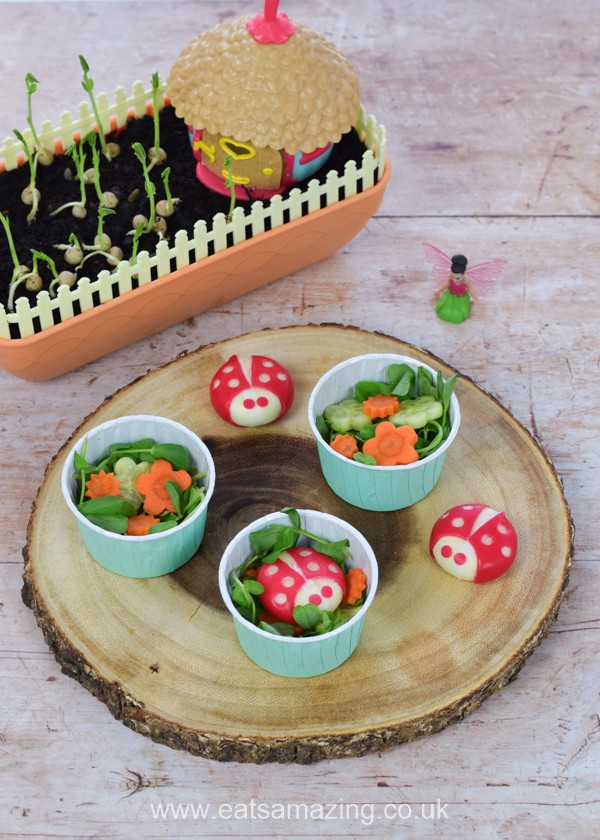 Cute mini side salads for kids with pea shoots grown using the My Fairy Kitchen Garden kit - with Babybel cheese ladybugs
