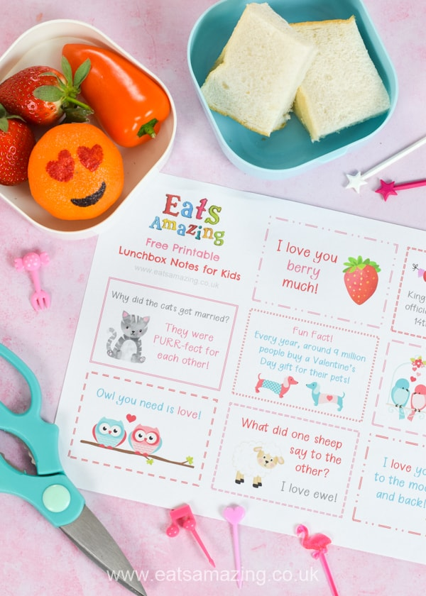 Dowload and print your FREE Valentines themed lunchbox notes for kids - these fun notes make cute lunch time surprises easy - just print and cut