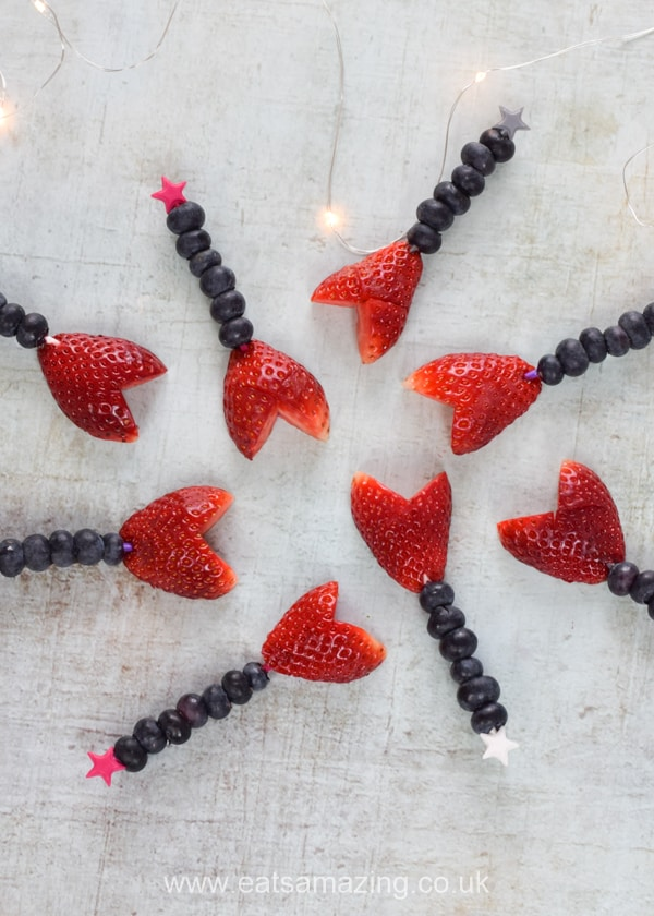 Easy Valentines fruit wands recipe - fun heart themed food for kids this Valentines Day