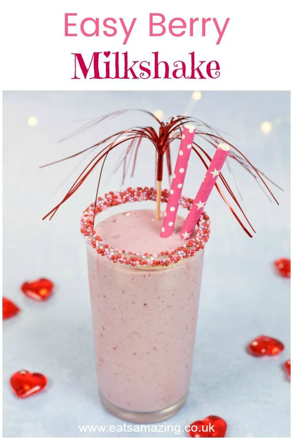Easy homemade berry milkshake recipe for kids - plus how to make sprinkle topped glasses - fun food tutorial with video #EatsAmazing #milkshake #easyrecipe #kidsfood #valentinesday #valentinesfood #sprinkles #familyfood #drinks #smoothies