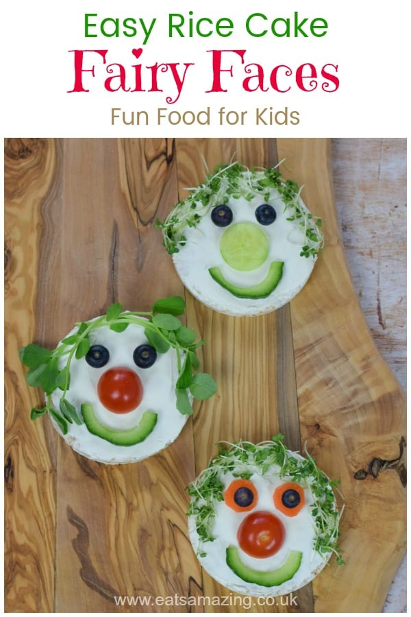 Easy rice cake fairy faces recipe - this fun food idea makes a great healthy snack or party food for kids #EatsAmazing #funfood #kidsfood #foodart #edibleart #partyfood #snackideas #fairygardening #fairygarden #cookingwithkids #healthykids #ricecake