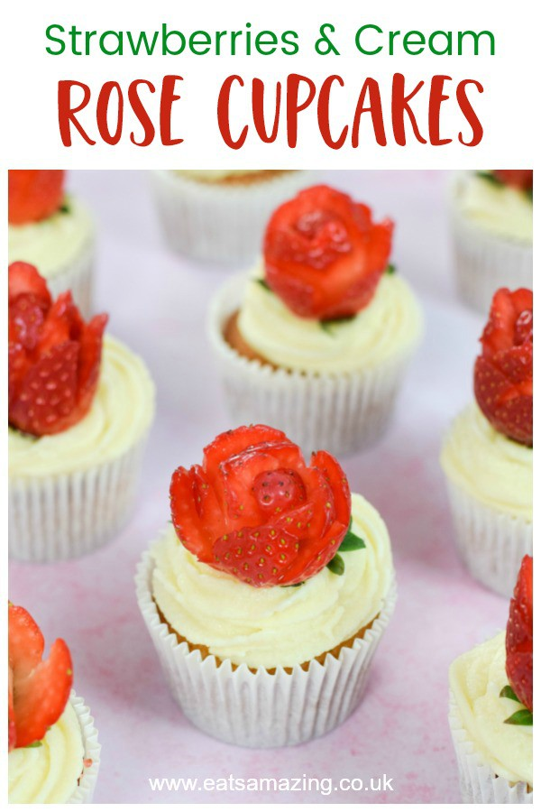 Easy strawberries and cream cupcakes recipe with strawberry roses - cute dessert for valentines day or mothers day #EatsAmazing #cupcakes #roses #strawberriesandcream #valentinesday #valentinesfood #bakingwithkids #baking #easyrecipe #cakedecorating #afternoontea #weddingcake