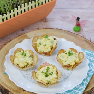 Egg and Cress Flower tortilla cups recipe - this fun snack is perfect for picnics tea parties and garden themed party food for kids