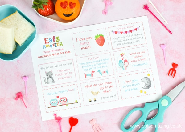 FREE Valentines Day themed lunchbox notes for kids - download and print your copy for a cute and easy lunch box surprise