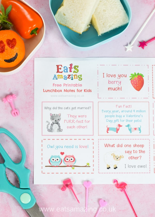 FREE Valentines themed lunchbox notes for kids - download and print a set for a sweet school lunch surprise your kids will love