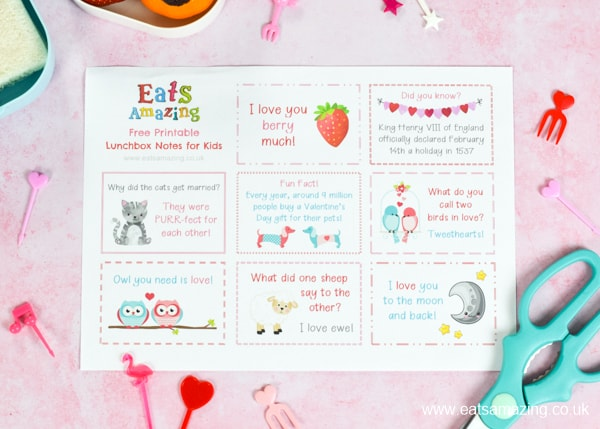FREE lunch notes for kids - this printble set has a fun VALENTINES DAY theme for easy packed lunch fun your kids will love