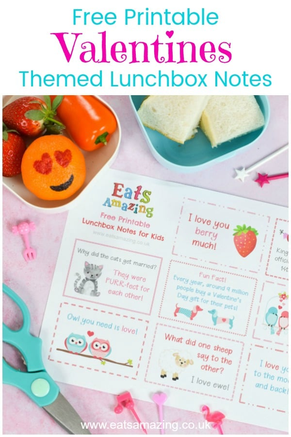 FREE printable Valentines Lunch Notes for Kids - fun love themed jokes fun facts and messages for a cute lunch box surprise this Valentines Day #EatsAmazing #valentines #valentinesday #lunchbox #lunchboxnotes #schoollunch #lunchnotes #kidsfood #funfood #bento #packedlunch #printable #freeprintable #jokes #funfacts