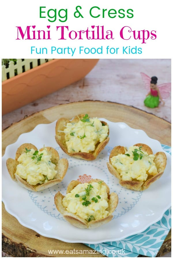 Fun Egg and Cress Mini Tortilla Cups recipe - these cute flower shaped bites are perfect for fairy themed party food for kids #EatsAmazing #partyfood #kidsfood #funfood #eggs #cress #easyrecipe #fairygardening #fairygarden #growyourown