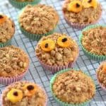 Fun and easy Gruffalo crumble muffins recipe - crumbled topped muffins cooling on a wire rack
