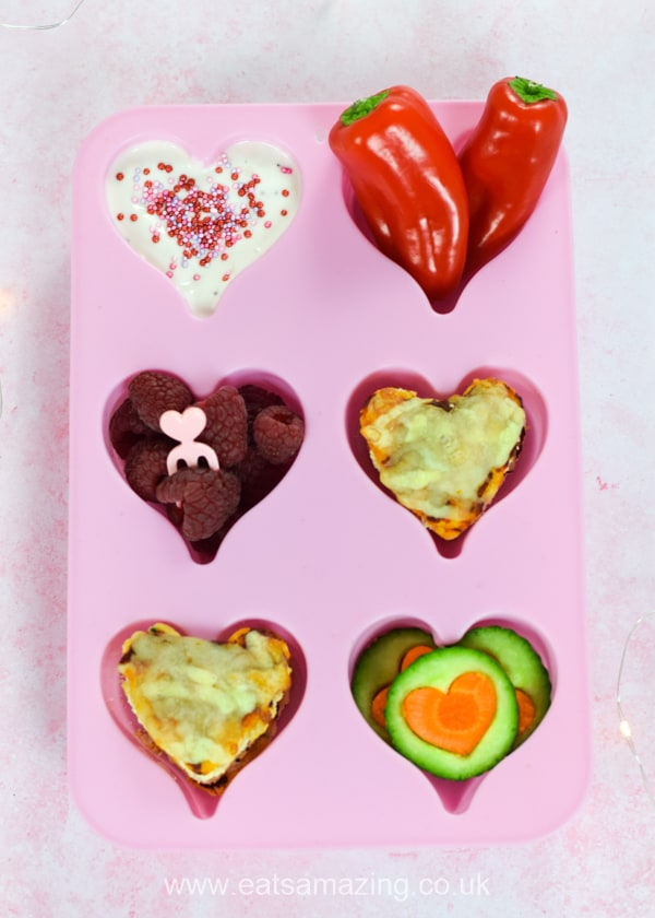 Fun and easy Valentines themed muffin tin meal for kids with mini heart pizza bites recipe - great for toddlers and baby led weaning