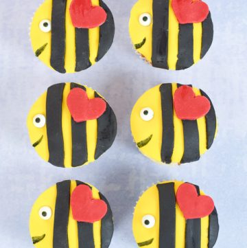 Fun and easy bee cupcakes recipe - cute Valentines Day food idea for kids