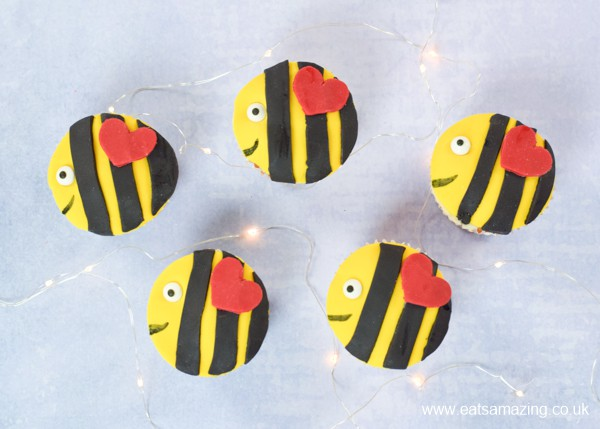 Fun and easy bee mine Valentines cupcakes - these cute bee cupcakes are perfect for kids party food the whole year around