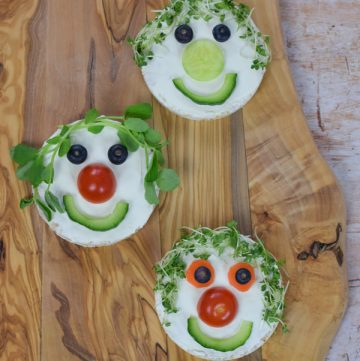 Fun and healthy snack for kids - easy rice cake fairy faces recipe made with home grown cress and pea shoots