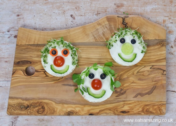Fun food tutorial - how to make cute rice cake fairy faces for kids - step 3 finish your fairy faces with cress or pea shoot hair