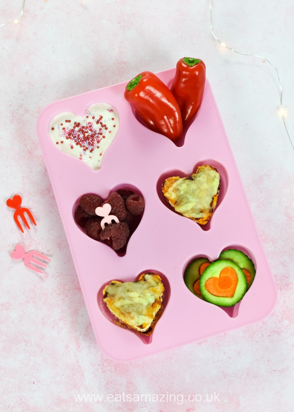 Fun heart themed muffin tin meal - cute toddler food idea for Valentines Day