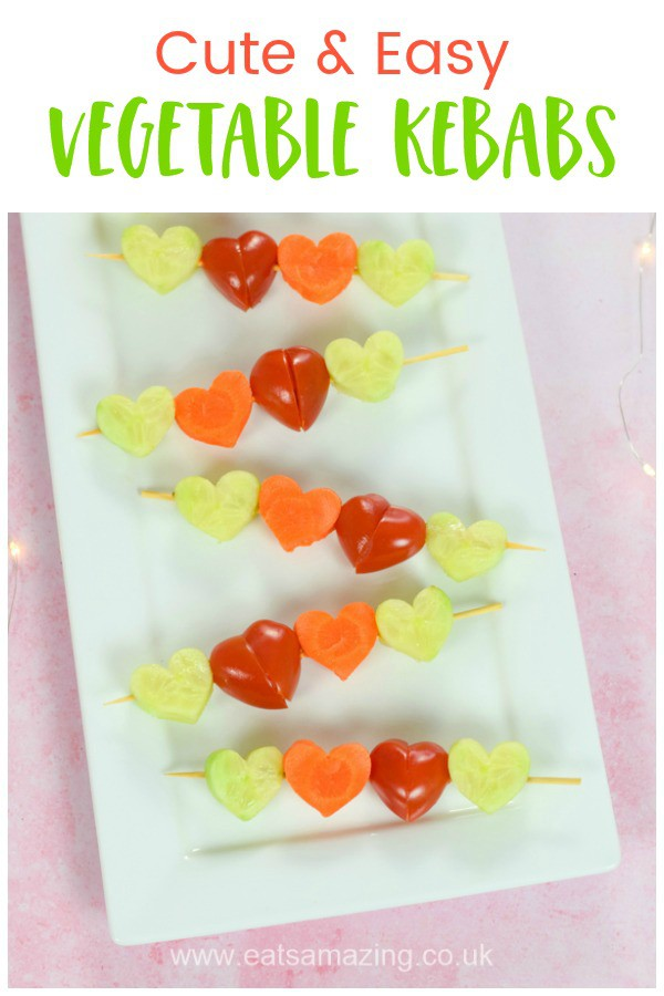 Heart themed cute and easy vegetable kebabs recipe - fun and healthy snack or party food idea for kids #EatsAmazing #partyfood #kidsfood #healthykids #Valentinesday #valentinesfood #kebab #skewers #funfood #foodart