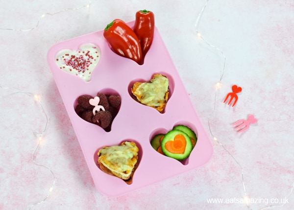 Heart themed muffin tin meal for kids - fun and easy lunch idea for Valentines Day