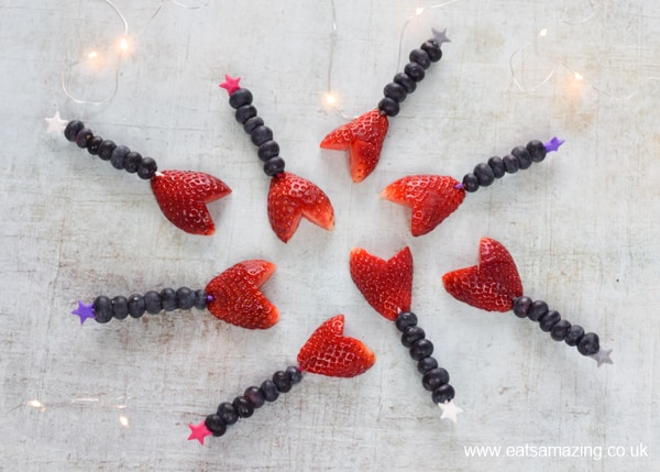 How to make Valentines fruit wands - fun food turorial for a cute and healthy Valentines snack for kids