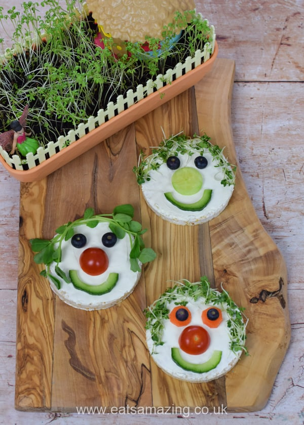 How to make a cute and easy fairy themed rice cake snack for kids using cress or pea shoots grown in the My Fairy Kitchen Garden kit